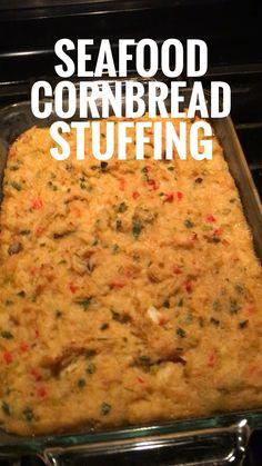 Seafood Cornbread Stuffing by The Cajun Ninja Louisiana Recipes, Cajun Recipes, Southern Recipes, Seafood Recipes, Cooking Recipes, Crawfish Recipes, Louisiana Seafood, Seafood Meals, Southern Food