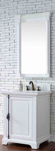 "James Martin Furniture - Providence 26"" Cottage White Single Vanity with 3 CM Snow White Quartz Top - 238-105-V26-CWH-3SNW"