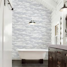 A-Street Solstice Pearl Cloud Wallpaper Sample - The Home Depot Wallpaper Panels, Wallpaper, Clouds, Wallpaper Roll, Brewster Home Fashions, Wall Coverings, Cloud Wallpaper, Wallpaper Samples, East Urban Home