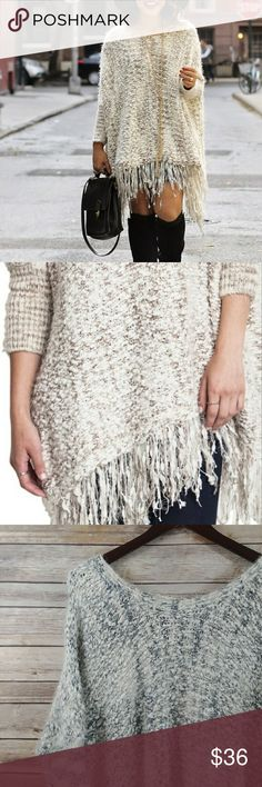 Umgee Fringed Sweater M/L in Oatmeal Umgee fringe sweater in oatmeal. Excellent Pre Owned Condition.   Size M/L oversized fit. Umgee Sweaters