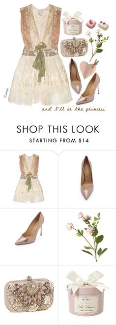 """""""~You'll be the prince and I'll be the princess, it's a love story, baby, just say, """"Yes""""~"""" by maloops ❤ liked on Polyvore featuring One Vintage, Sergio Rossi, OKA, Accessorize, romantic, lace, princess and lacedress"""