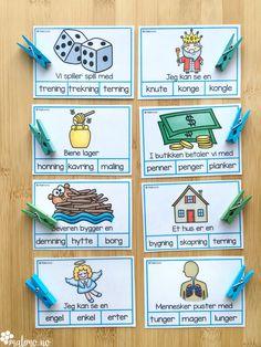 Klypekort for å øve på språklyder, nærmere bestemt NK-lyd og NG-lyd First Grade, Second Grade, Danish Language, Barn Crafts, Reading Words, Too Cool For School, Norway, Kindergarten, Parenting