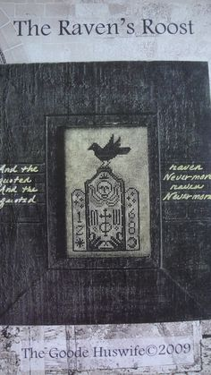 Lot 2 Raven Tombstone Poe Cross Stitch Charts Carriage House Samplings & The Goode Huswife 2009