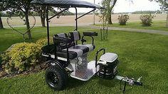 Ez-Go club car Yamaha custom built Golf Cart trailer pull behind Tag-a-long TRLR Sidecar, Golf Card Game, Golf Chipping Tips, Dubai Golf, Electric Golf Cart, Atv Trailers, Custom Golf Carts, Golf Cart Accessories, Golf Training Aids