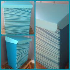 Postkasse i stripete blåtoner. Kjempestilig✉️