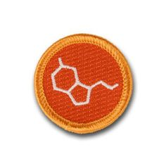 "Hooray for Happiness! Embroidered serotonin molecule patch, for finding happiness. Iron-on backing. 1.5"" diameter."