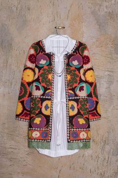 Saco Lahu Bennet Korean Fashion Casual, Retro Fashion, Boho Fashion, Mexican Outfit, Mexican Dresses, Hippie Chic, Boho Chic, Batik Blazer, Ropa Shabby Chic