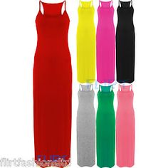 Womens Maxi Dress Racer Back Muscle Vest Top Full Length Sexy Jersey Skirt 8-14