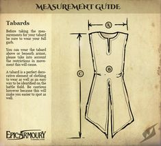 Tabards measurement guide