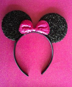 MINNIE MOUSE EARS Headband Black with Hot Pink Bow by mytutubows, $10.00