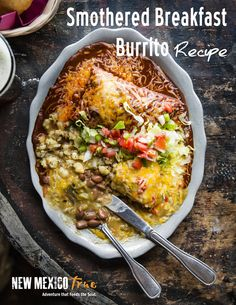 Must-try smothered breakfast burrito recipe! Once you try it smothered in green chile sauce, no burrito will ever be the same again.
