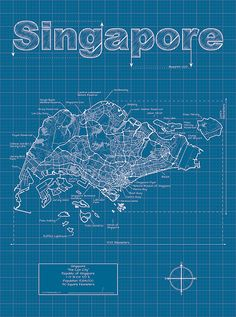 Singapore Artistic Blueprint Map by MapHazardly on Etsy