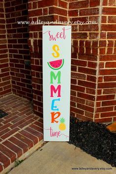 c Sweet Summer Time Porch Sign, Multicolor Summer Sign, Summer Porch Sign, Reversible Sign, Customiz Woodworking Shows, Woodworking Logo, Woodworking Projects, Woodworking Patterns, Woodworking Plans, Summer Diy, Summer Crafts, Diy Signs, Wood Signs