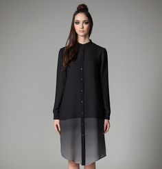 Jennifer Glasgow Shasta Dress on Garmentory Dress Up, High Neck Dress, Shirt Dress, Glasgow, Wrap Around Dress, Grey Ombre, Mandarin Collar, Cuff Sleeves, Button Up Shirts
