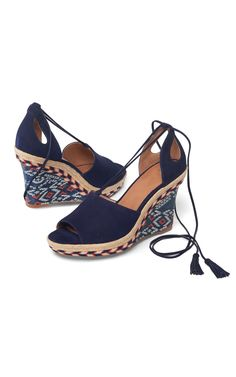 Isla Wedge - Cabi Spring 2017 Collection.   Easy to dress up or down, the Isla Wedge is right on-trend this spring in classic navy suede with a wraparound ankle strap finished with tassels for a flirty touch. My online store is open 24/7 for your shopping pleasure: jeanettemurphey.cabionline.com