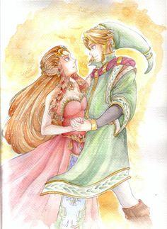 Zelda and Link dancing