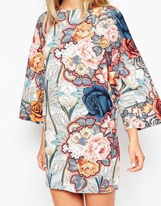 Image 3 of ASOS T-Shirt Dress with Kimono Sleeves in Floral Print