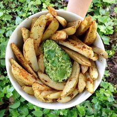 fitwithoutfat: Fries again! 9 small potatoes chopped into wedges and tossed with fresh basil, cilantro, garlic powder, and ginger. The avocado dip is made with 1/2 avocado, a little bit of red onion, pepper, lemon juice, and cilantro. So full of carbs and so energizing!