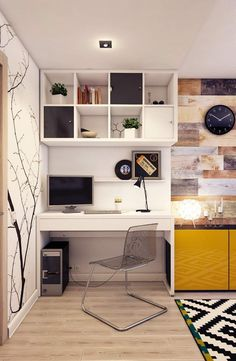 meubles bureau maison modernes dans le salon avec tapis noir et blanc et mur bois de grange