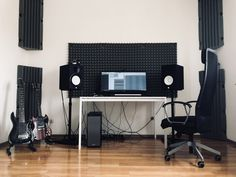 Tunetank's CEO home music studio. Tunetank.com Quality music for you. #tunetank #musicstudio #guitar #musicstock #hs8 #schecter #gibsonsg #akg #focusrite #musician