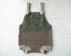 READY TO SHIP///Hand Knit Baby Romper/Overalls in Toad Tweed Green, Mocha, and Camel (0-3 Months)