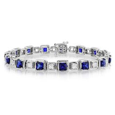Nothing says regal like white and blue sapphires, and when paired in a tennis bracelet, they create a luxe and sexy look. Ice alternates lush, square-cut white and blue sapphires in radiant sterling silver.