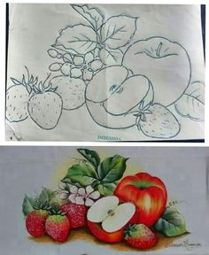 Fabric Paint Designs, Apple Art, Color Pencil Art, Drawing Lessons, Drawing For Kids, Fabric Painting, Coloring Sheets, Colored Pencils, Decoupage