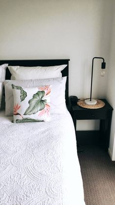 Cushions from Ezibuy. Lamp from Bunnings. Flax placemat from Freedom furniture. Photo credit: Alisha Coote