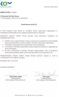 Tóth László projektigazgató - Központi Okos Mérés Zrt. irodaköltöztetés után kapott köszönőlevele