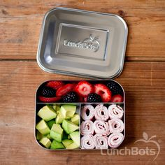 Fill and go - stainless steel Trio bento box from LunchBots. No plastic.