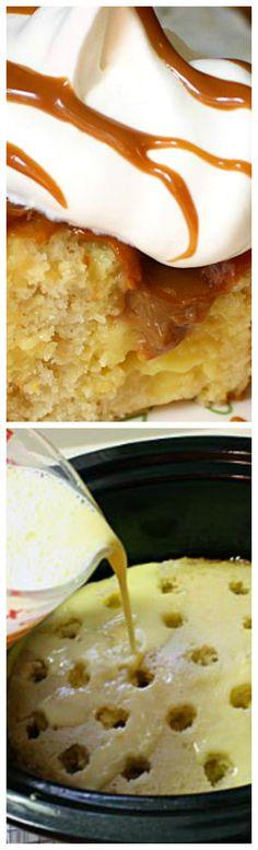 Vanilla Dream Crock Pot Cake ~ Easy and delicious Crockpot Deserts, Crockpot Recipes, Cooking Recipes, Crock Pot Slow Cooker, Instant Pot Pressure Cooker, Sweet Nothings, Slow Cooking, Betty Crocker, Dessert Ideas