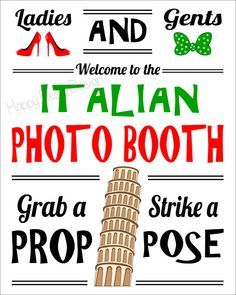 Italy Photo Booth Sign - DIY Italian Party Sign