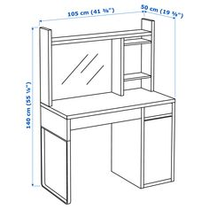 IKEA MICKE workstation Can be placed in the middle of a room because the back is finished. Ikea Micke, Micke Desk, Plastic Shelves, Plastic Drawers, Furniture Logo, Home Furniture, Furniture Websites, Furniture Market, Woodworking Furniture