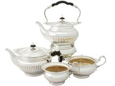 Sterling Silver Four Piece Tea Service - Queen Anne Style - Antique Edwardian  SKU: A3850 Price  GBP £3,250.00  http://www.acsilver.co.uk/shop/pc/Sterling-Silver-Four-Piece-Tea-Service-Queen-Anne-Style-Antique-Edwardian-67p4597.htm