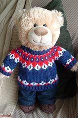 Ravelry: John Watson Bear Christmas Jumper pattern by shinysherlock Knitting For Charity, Free Knitting, Baby Knitting, Knitting Toys, Jumper Patterns, Sweater Knitting Patterns, Bear Patterns, John Watson, Small Teddy Bears
