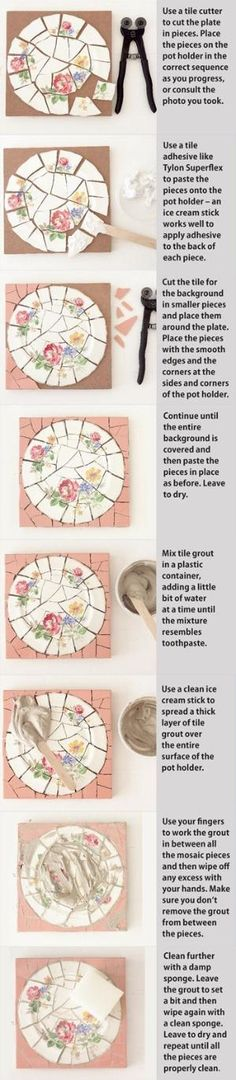 Mosaic 101 - How-to basic tutorial - #mosaic #craft #crafts #DIY #china #plate #glass #tile #tiles #plates - IdeasMagazine - tå√ by debracompton123