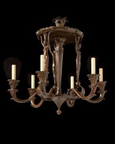 "Marvin Alexander,Inc. Art Deco patinated bronze six light figural chandelier with ""Moulin Rouge"" motif, France circa 1920."