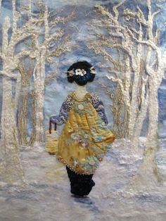 Winter - amazing needle felting by Stacy Polson Art Fibres Textiles, Textile Fiber Art, Wet Felting, Needle Felting, Grand Art, Felt Pictures, Art Du Fil, Wool Applique, Felt Art