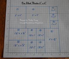 Kathy Roney's 6x6 One Sheet Wonder cutting layout!