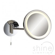Magnifying Mirror 6121CH by firstlight Magnifying mirror light finished in modern chrome.  Provides 3 x magnification.  The position of the mirror is easily adjustable.  Built in pull cord on/off switch for ease of use.  Ideal as a makeup or shaving mirror.   Low Energy   1 x 9w GX53 Lamp (Not included)   Diam: 200mm   Height: 200mm   Proj: 275mm   Width: 200mm   IP rated: IP44  £124.02