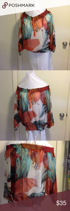 Peasant Top Desigual sheer peasant boho style shirt. This is new without tags. Lovely top. It's just too small. My husband bought it in Spain. It's a small. Love that man. Anyway lucky for you. Desigual Tops Blouses