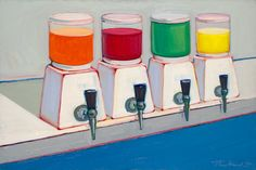 """Wayne Thiebaud, """"Drink Syrups"""" (1961), oil on canvas, 24 1/8 x 36 in"""