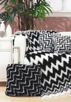 Free Crochet Zebra Throw and Pillows Pattern