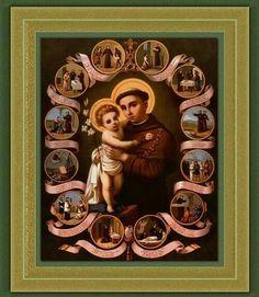 San Antonio de Padua - St Anthony of Padua beautiful picture! Saint Anthony Of Padua, Catholic Beliefs, Vintage Holy Cards, Pope John Paul Ii, Santa Lucia, Prayer Cards, Roman Catholic, Holy Spirit, Jesus Christ