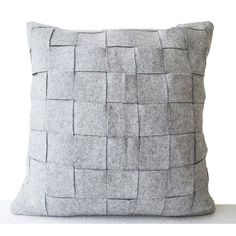 Amore Weave Throw Handmade Pillowcase Gray (16 x 16) (2,395 INR) via Polyvore featuring home, bed & bath, bedding, gray pillow cases, gray bedding, grey bedding, grey pillow cases and handmade pillow cases