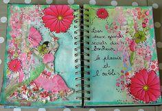 art journal bonheur 11 by edenscrap Mixed Media Journal, Mixed Media Art, Mix Media, Collages, Collage Art, Smash Book, Art Journal Pages, Art Journals, Moleskine