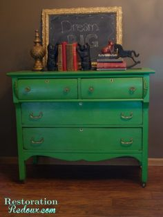 Green Antique Dresser - Restoration Redoux http://www.restorationredoux.com/?p=41