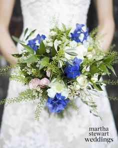 Exclusive: Louise Roe and Mackenzie Hunkin's Wedding Photos! | Martha Stewart Weddings - Louise wanted to change up her look for the ceremony and reception without changing her dress, so her florist, Lavender Green Flowers, suggested carrying two different bouquets. Her ceremony bouquet, inspired by the one Grace Kelly carried at her wedding, was created from lily of the valley, stephanotis, and ruscus foliage.