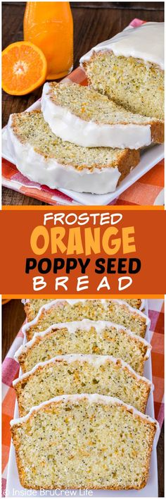 Frosted Orange Poppy Seed Bread - sweet orange frosting and poppy seeds add a fun twist to these sweet bread! Great recipe for a summer breakfast!