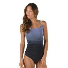 b523400631ae1 Women's Speedo Ombre Shirred One-Piece Swimsuit, Size: 18, Black Speedo  Swimsuits